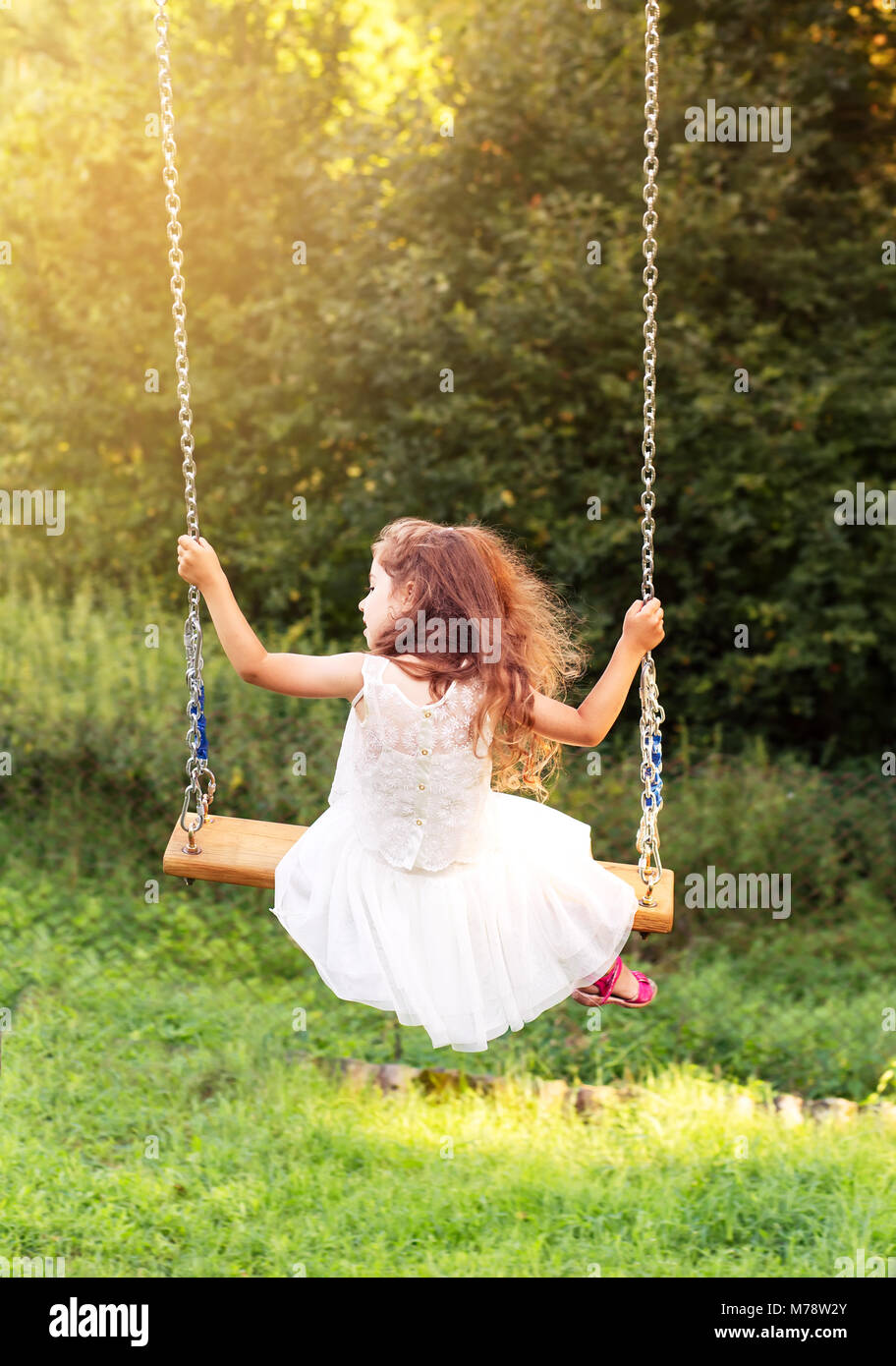 Happy beautiful little girl sitting on seesaw at summer day, back view - Stock Image