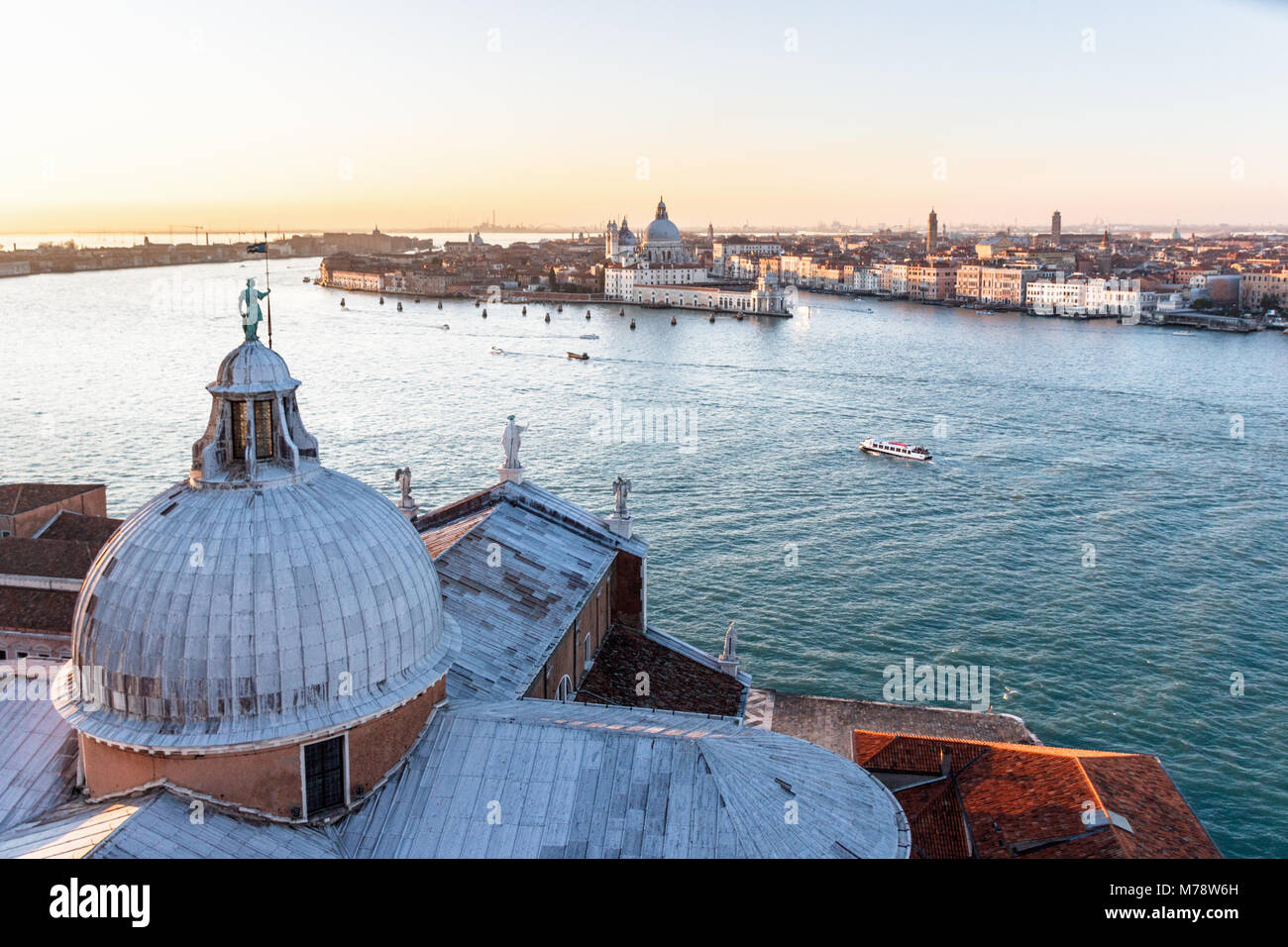 VENICE, ITALY - DECEMBER 20, 2017: Aerial view over the Grand Channel towards the church of Santa Maria della Salute Stock Photo