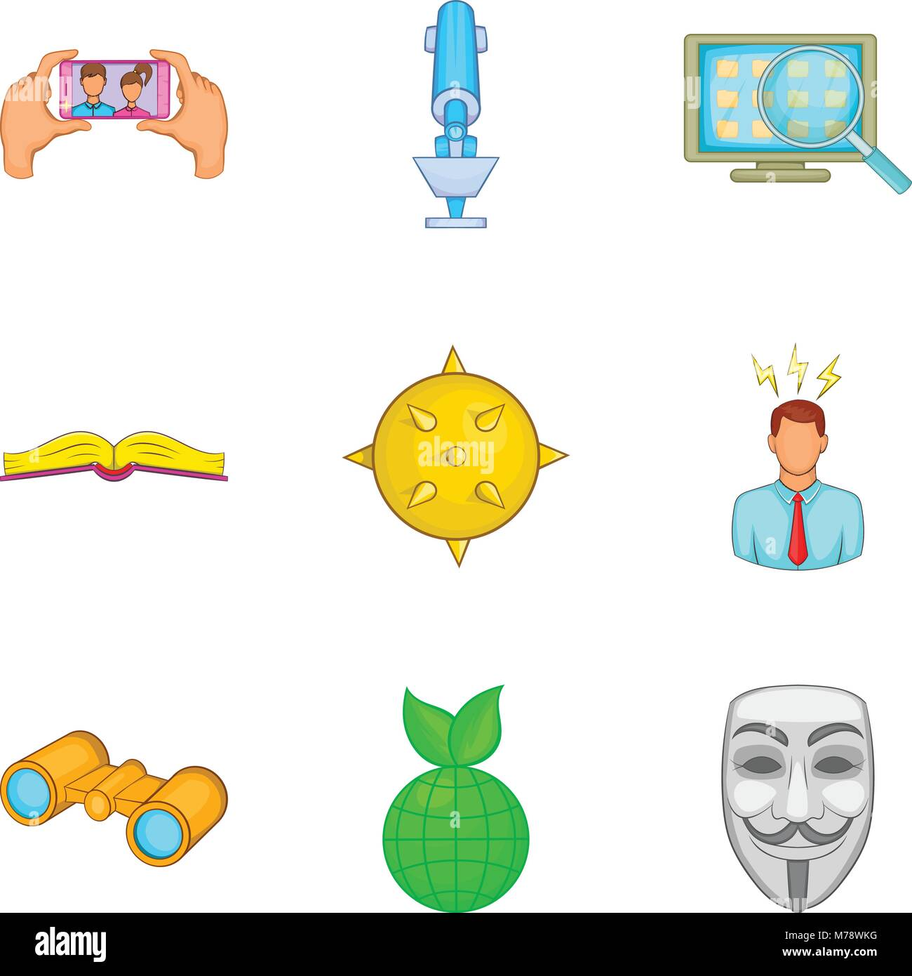 Stance icons set, cartoon style - Stock Vector
