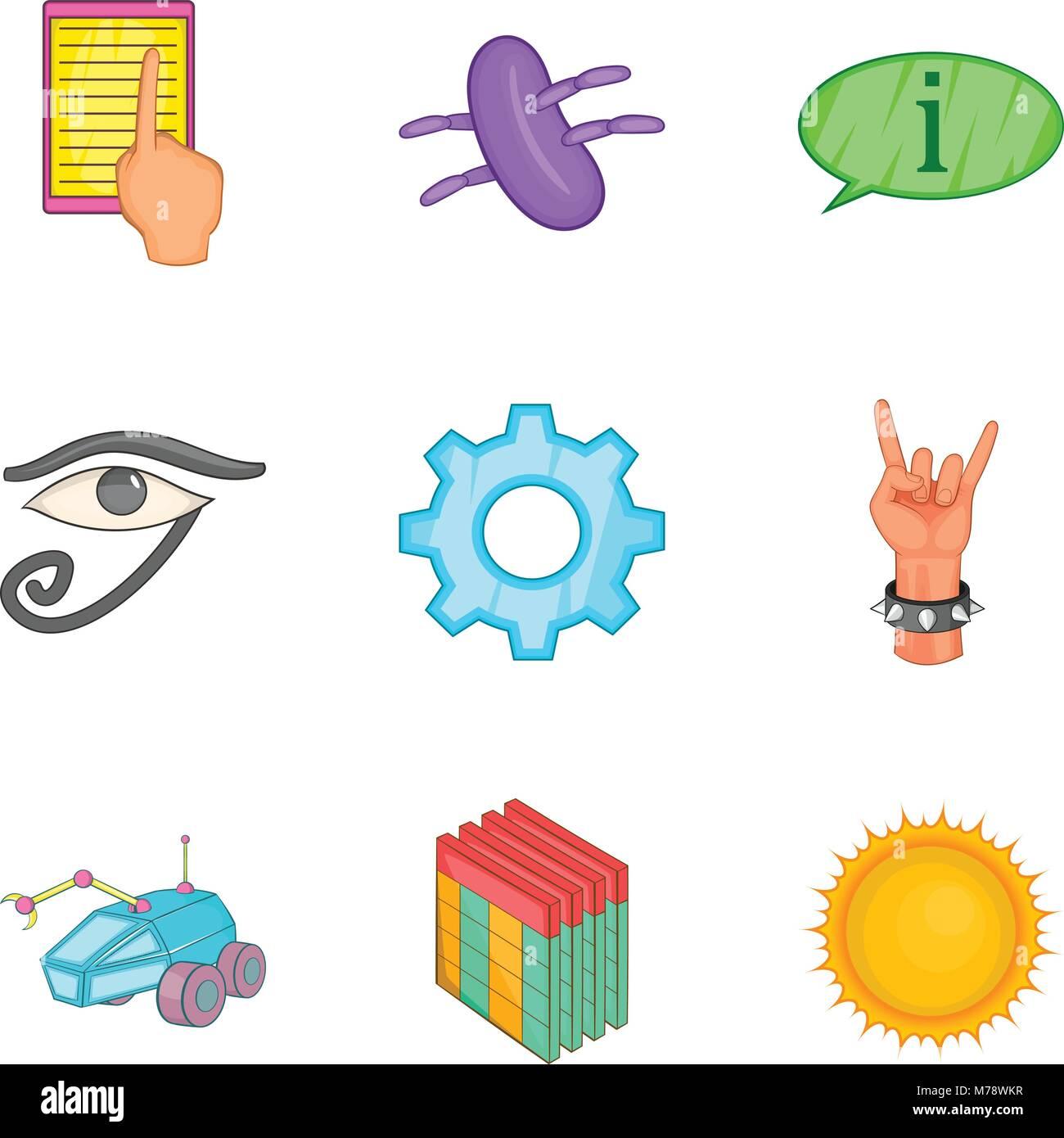 Pose icons set, cartoon style - Stock Vector