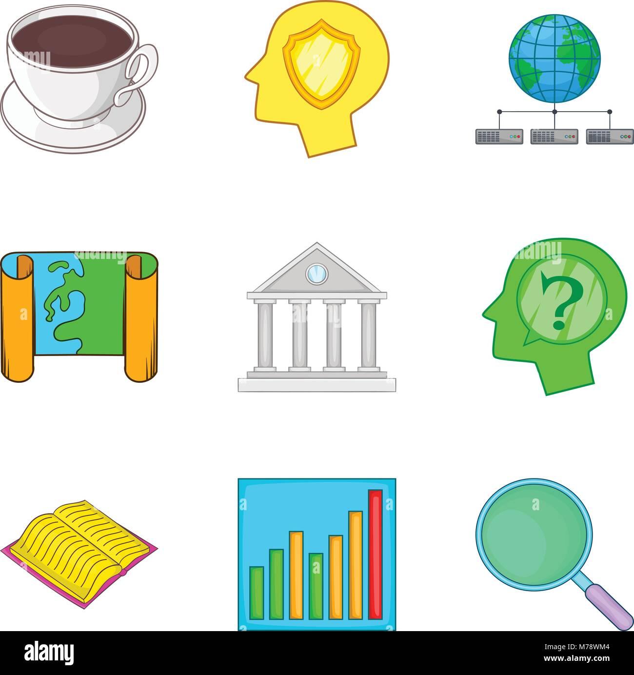 Objective icons set, cartoon style - Stock Vector