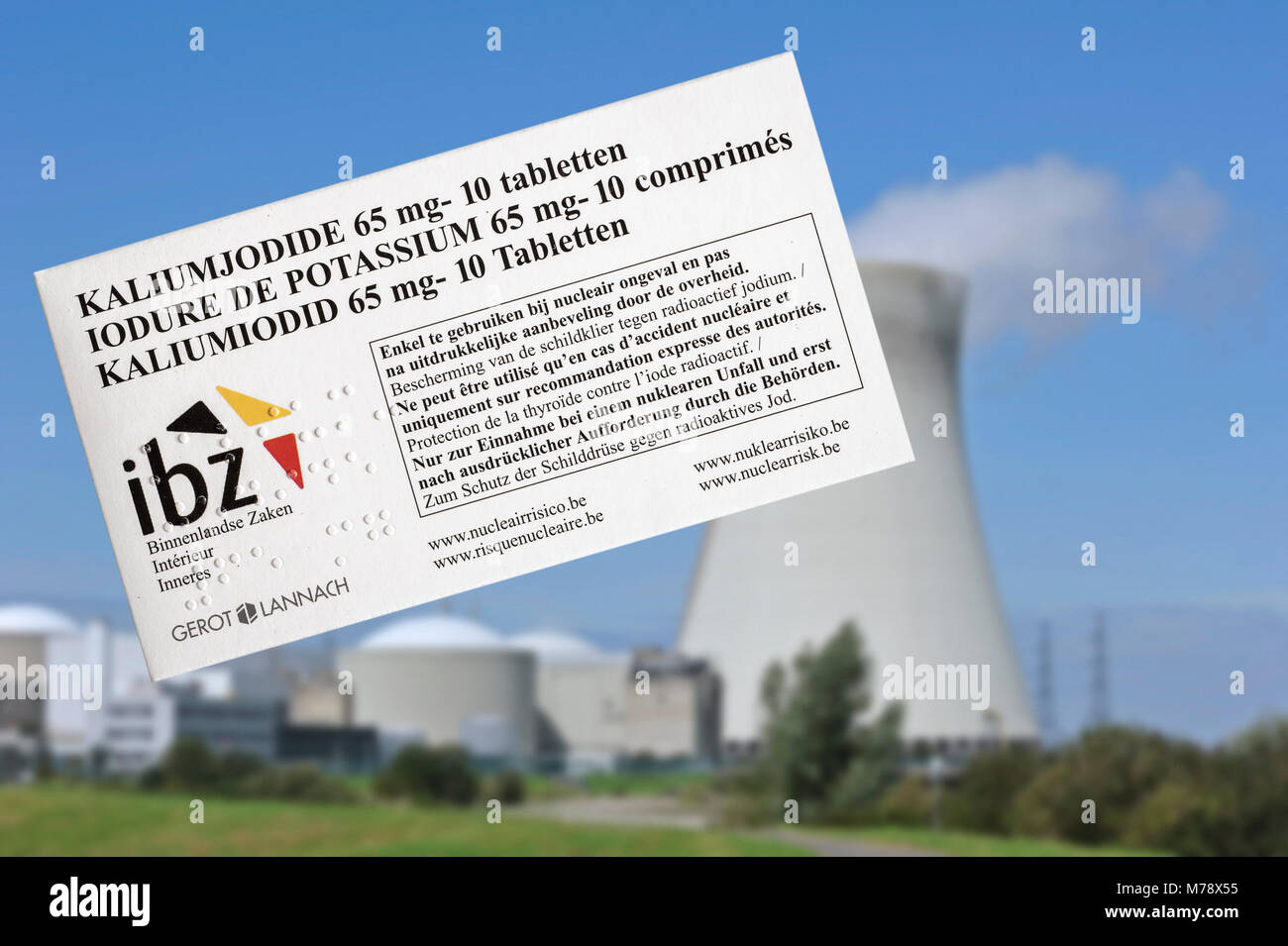 Doel nuclear power plant and iodide tablets to protect Belgian residents from radioactive fall-out in the event Stock Photo