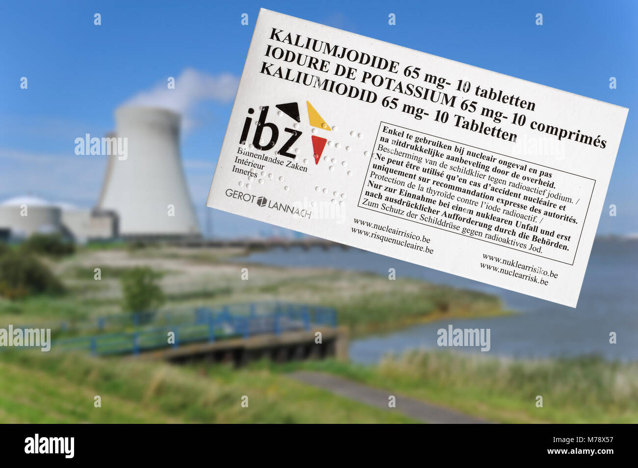 Doel nuclear power plant and iodide tablets to protect Belgian residents from radioactive fall-out in the event - Stock Image