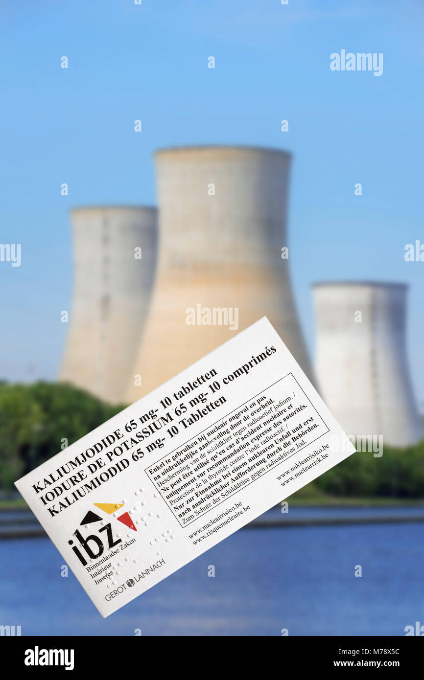 Tihange nuclear power plant and iodide tablets to protect Belgian residents from radioactive fall-out in the event Stock Photo