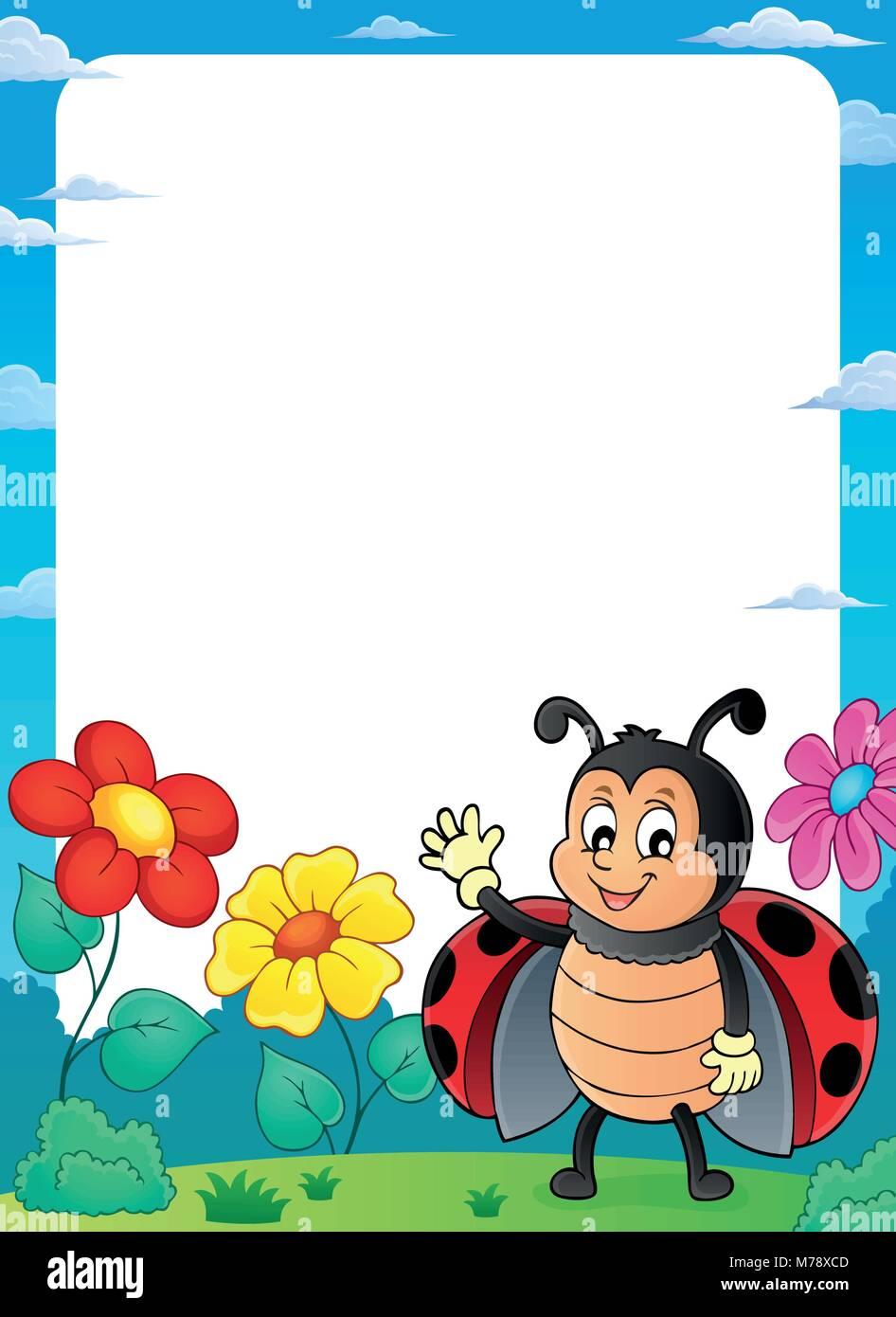 Ladybug theme frame 2 - eps10 vector illustration Stock Vector Art ...