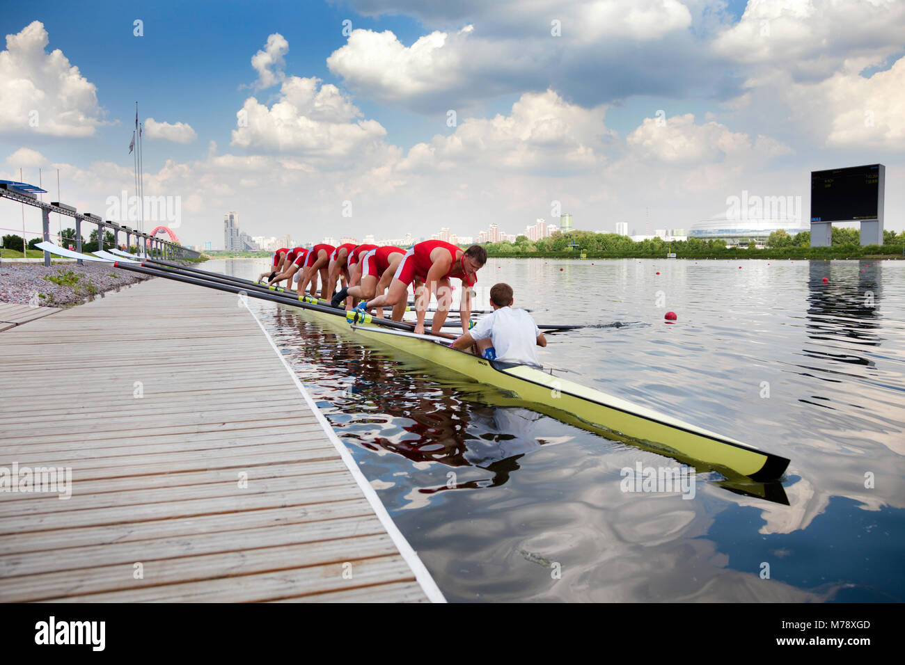 A competition 'The Great Moscow Regatta' on the Krylatskoe Rowing Canal in Moscow, Russia - Stock Image