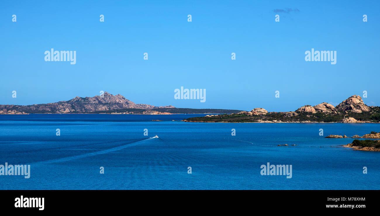 a panoramic view of La Maddalena, Santo Stefano and Caprera islands, in the Strait of Bonifacio, from Palau, in - Stock Image
