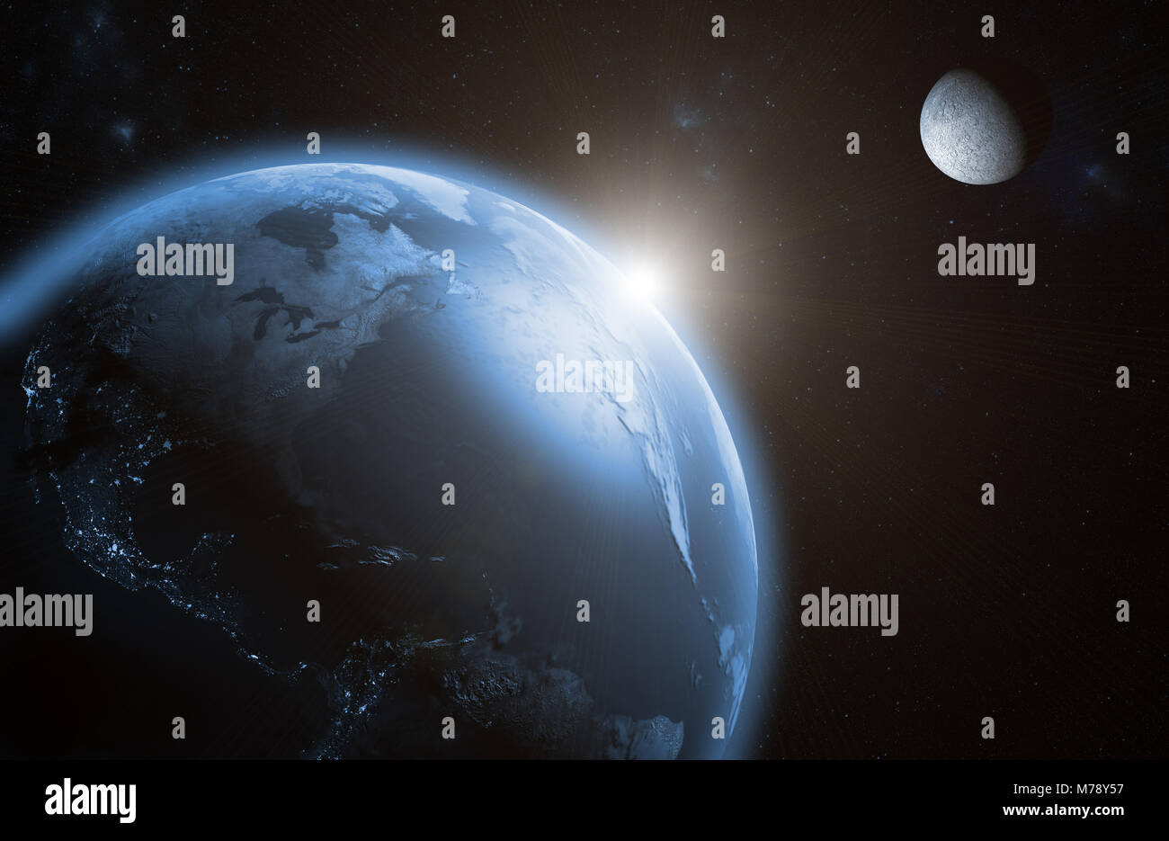 Sunrise on Earth with the moon - Stock Image
