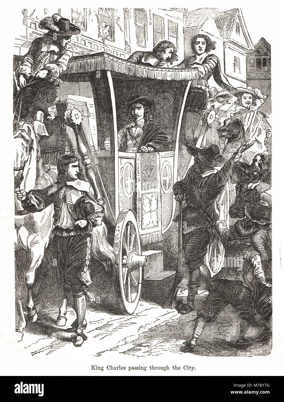 King Charles I, encountering protesters on the streets of London, following his armed entry into the house of commons, - Stock Image