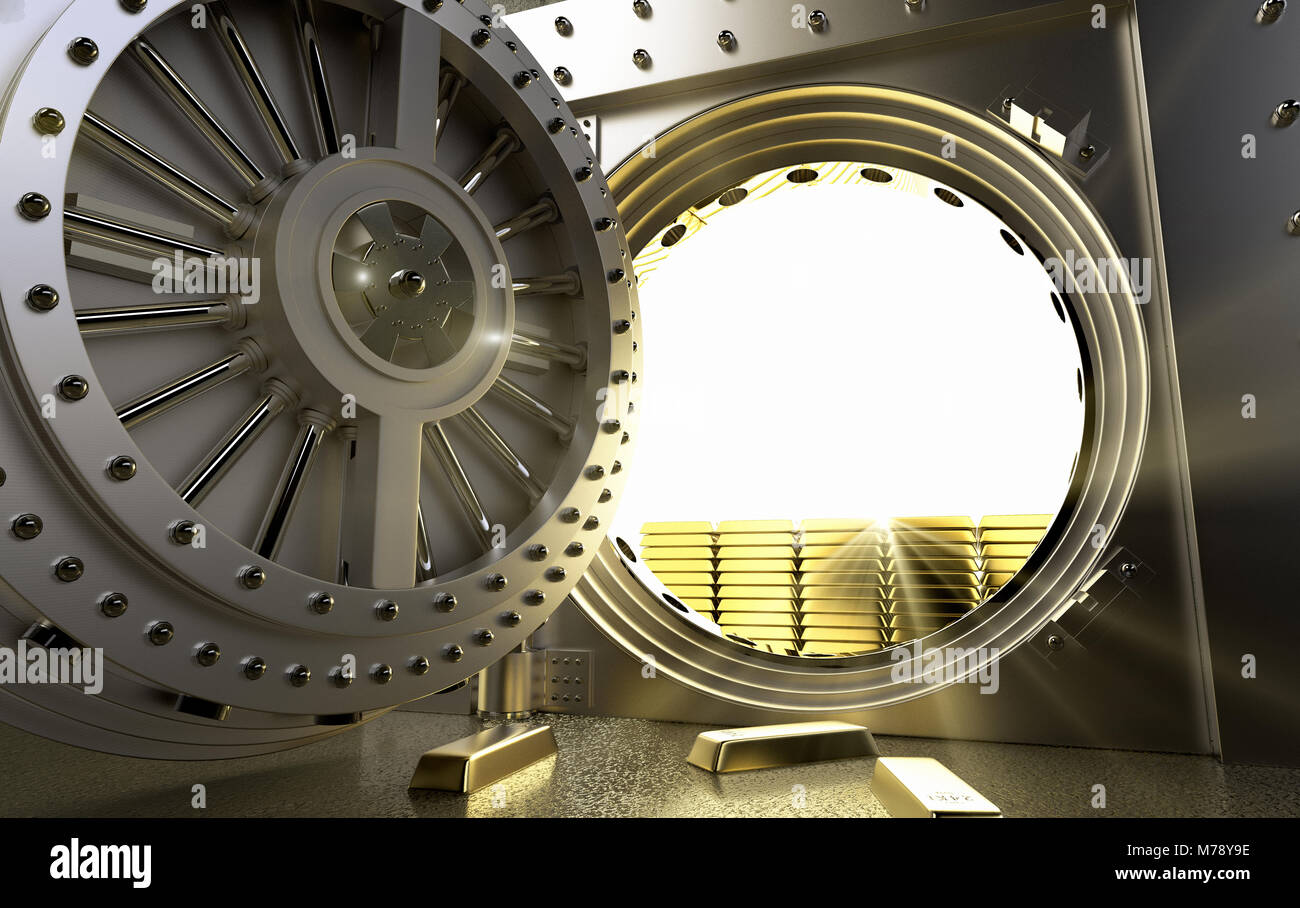 3D rendering of a bank Vault with gold bars inside - Stock Image