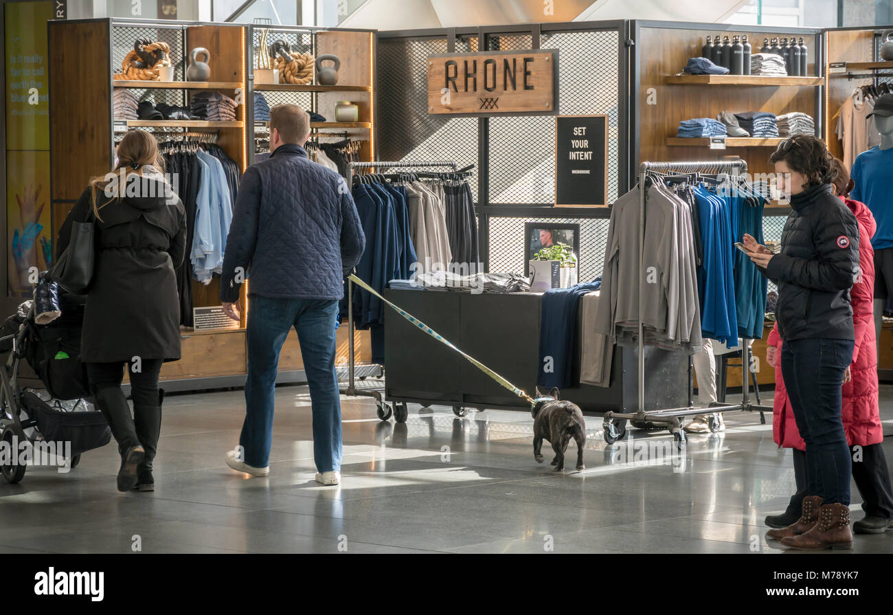 The temporary Rhone brand mens activewear kiosk in the Brookfield Place mall in New York on Saturday, March 3, 2018. - Stock Image