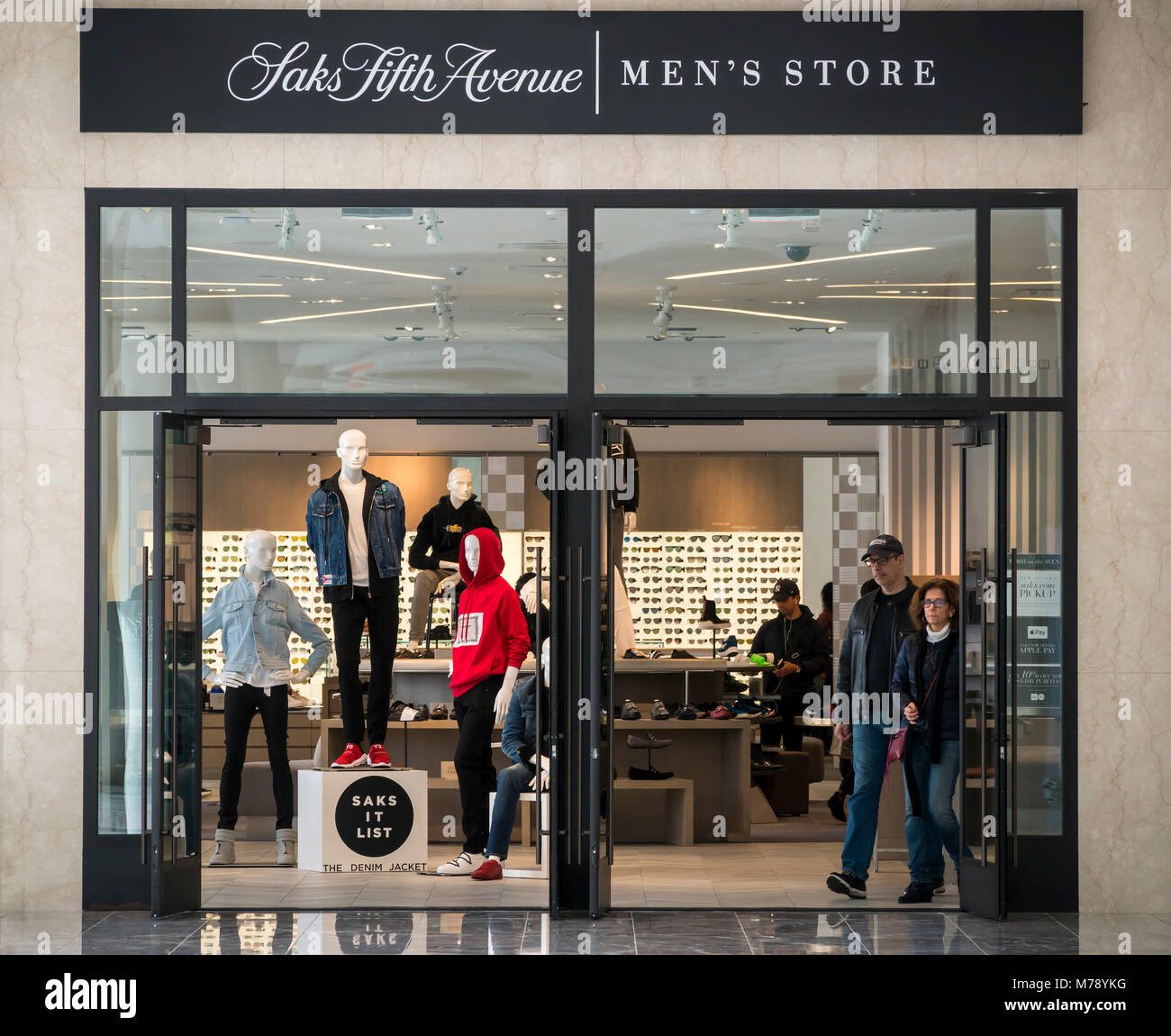 The Saks Fifth Avenue Men's Store in the Brookfield Place mall in New York on Saturday, March 3, 2018. As Nordstrom - Stock Image