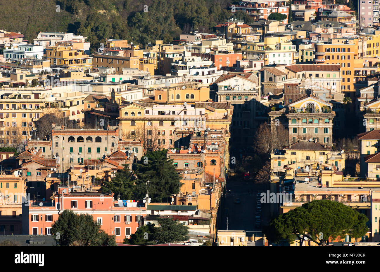 Rome urban sprawl seen from the top of St Peter's cathedral. Vatican city, Rome, Italy. - Stock Image