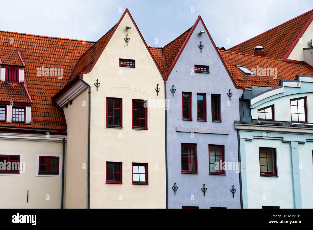 Red tile roof houses in Riga, Latvia - Stock Image