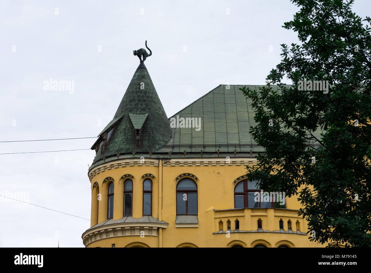 The Cat House (Kaku nams). Art Nouveau building. Riga, Latvia - Stock Image