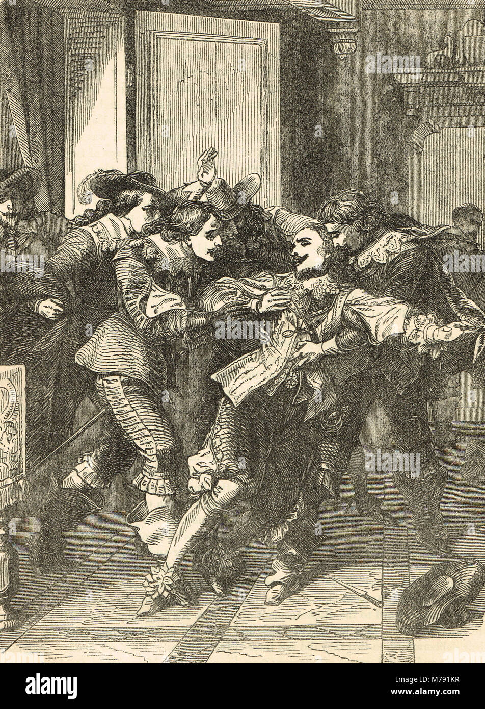 The assassination of George Villiers, 1st Duke of Buckingham, 23 August 1628 - Stock Image