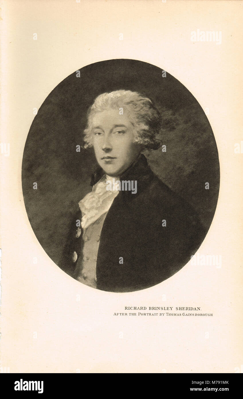 Richard Brinsley Sheridan (1751-1816), Irish satirist, playwright and poet, known for his plays The Rivals and The - Stock Image