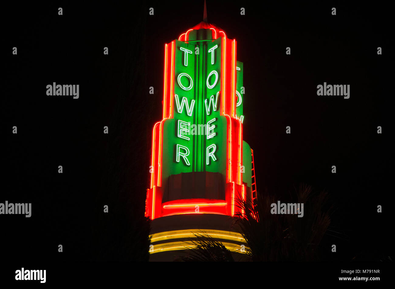 The Tower sign in Sacramento is a famous landmark. Stock Photo