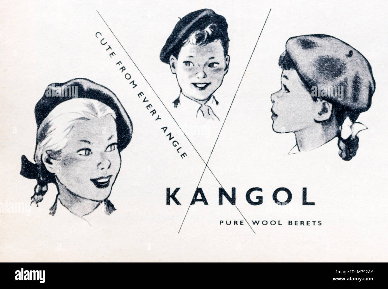 1950s magazine advertisement advertising Kangol pure wool berets. - Stock Image