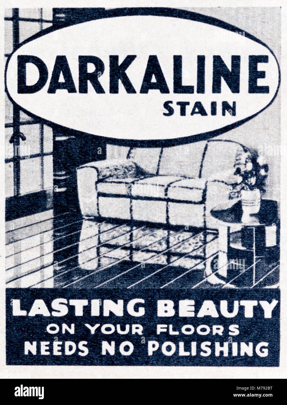 A 1950s magazine advertisement advertising Darkaline floor stain. - Stock Image