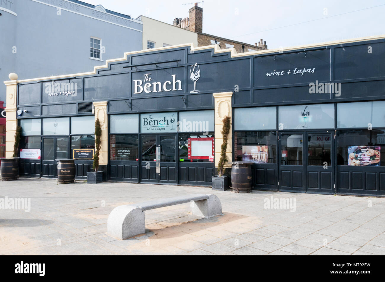 The Bench Wine Bar & Tapas Restaurant in Harbour Parade, Ramsgate - Stock Image