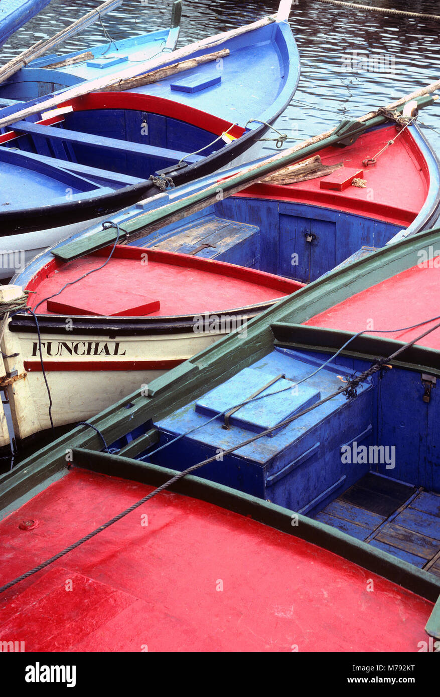 Fishing boats at the ready in Camara de Lobos on the Island of Madeira, Portugal - Stock Image