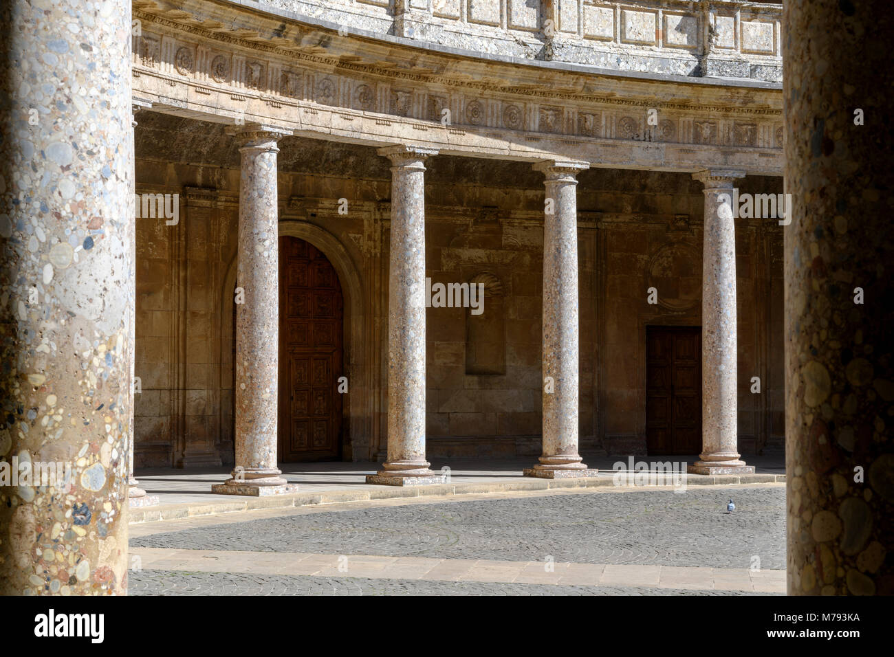 Courtyard of Carlos V Palace (La Alhambra) Granada. Spain. Stock Photo