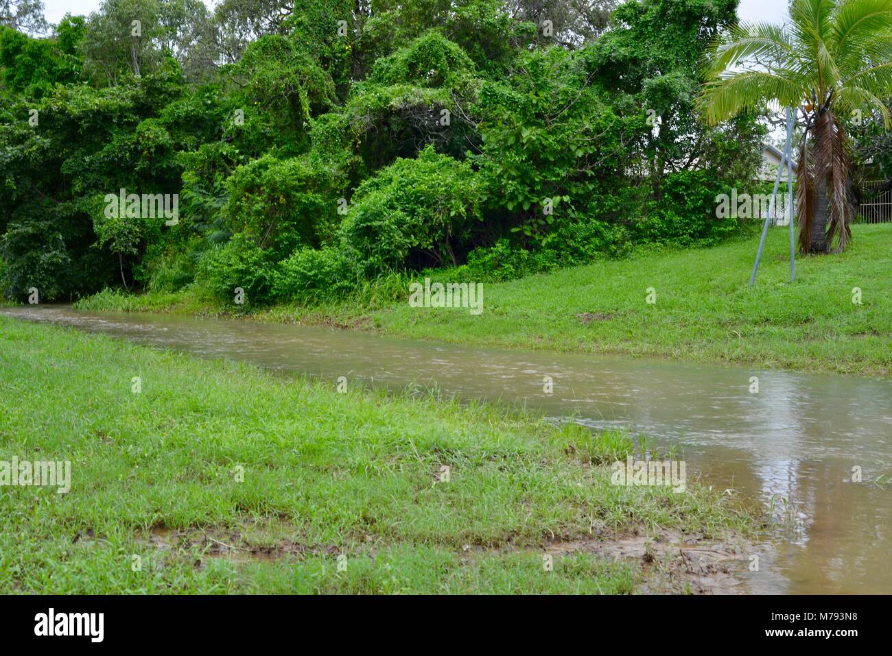 Flooding in Annandale townsville after storms and heavy rainfall, Townsville, Queensland, Australia - Stock Image