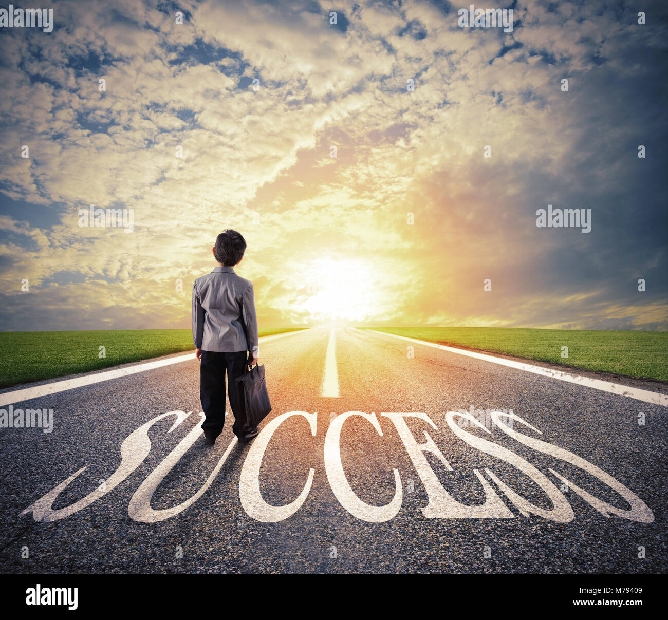 Young man walks on a success way. Concept of successful businessman and company startup - Stock Image