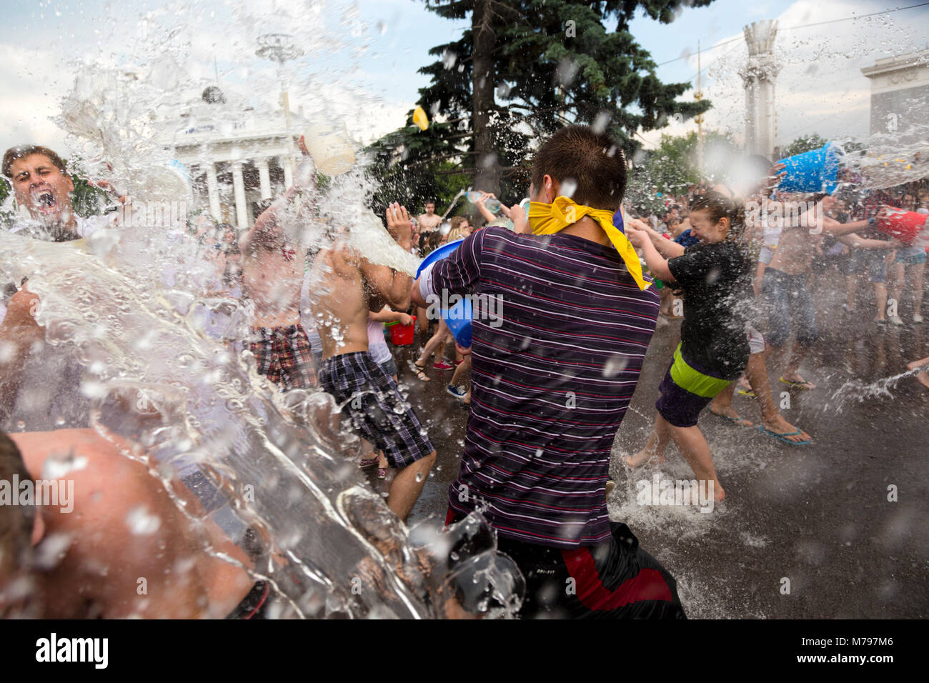 View of the Friendship of Nations Fountain during the 'Water Battle' at the All-Russian Exhibition Center - Stock Image
