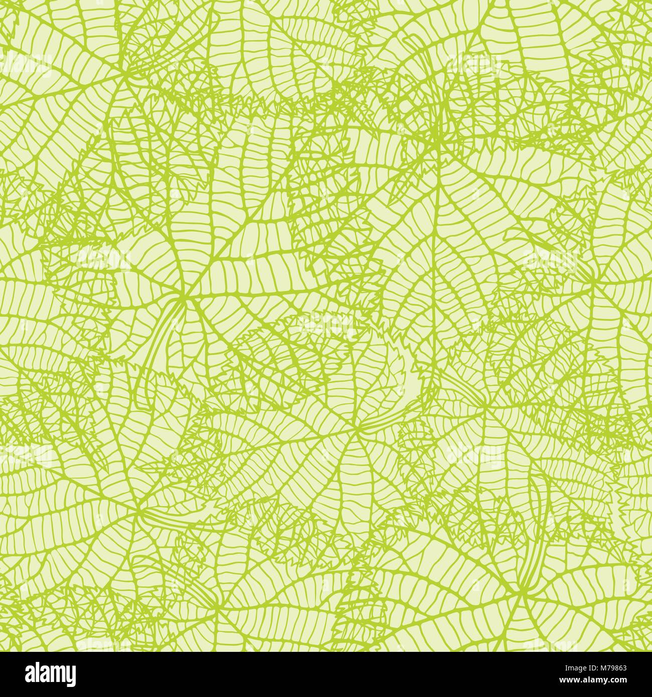 Seamless nature pattern with green leaves. - Stock Vector