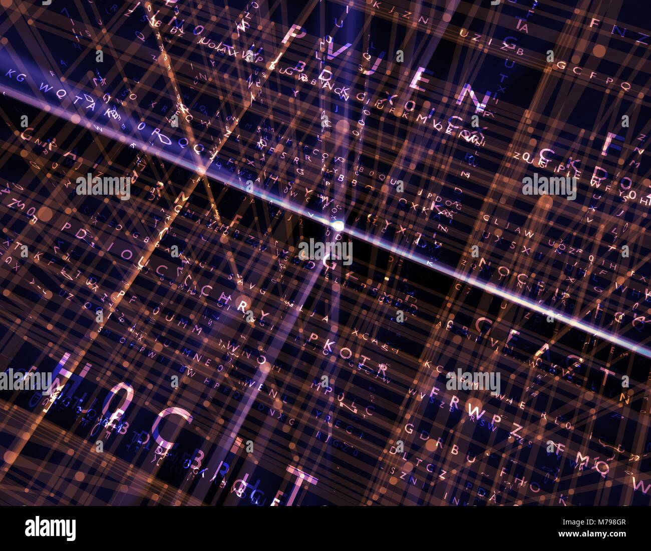 Future network connection technology, programming, network three-dimensional space, program code - Stock Image