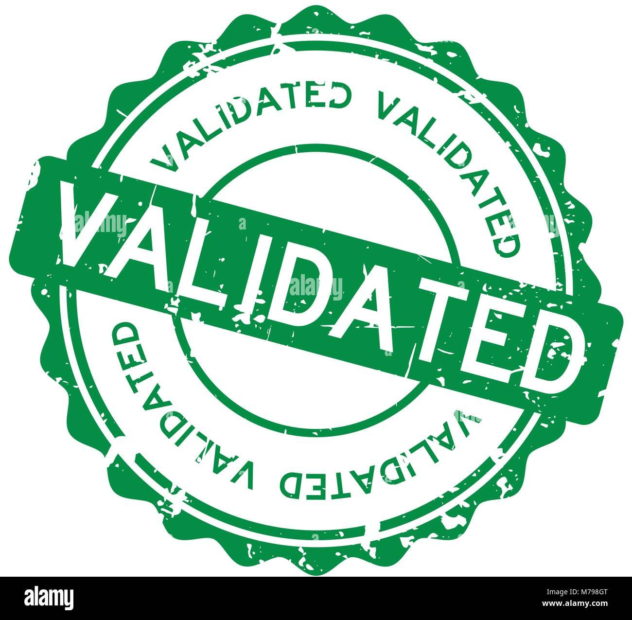 Grunge Green Validated Wording Round Rubber Seal Stamp On White Background