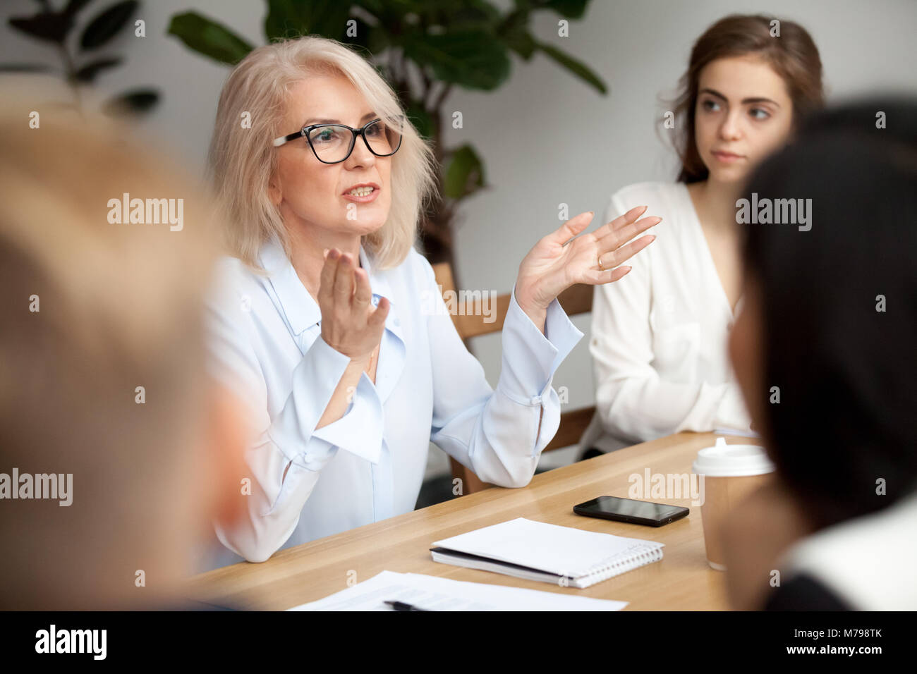 Aged businesswoman, teacher or business coach speaking to young  - Stock Image