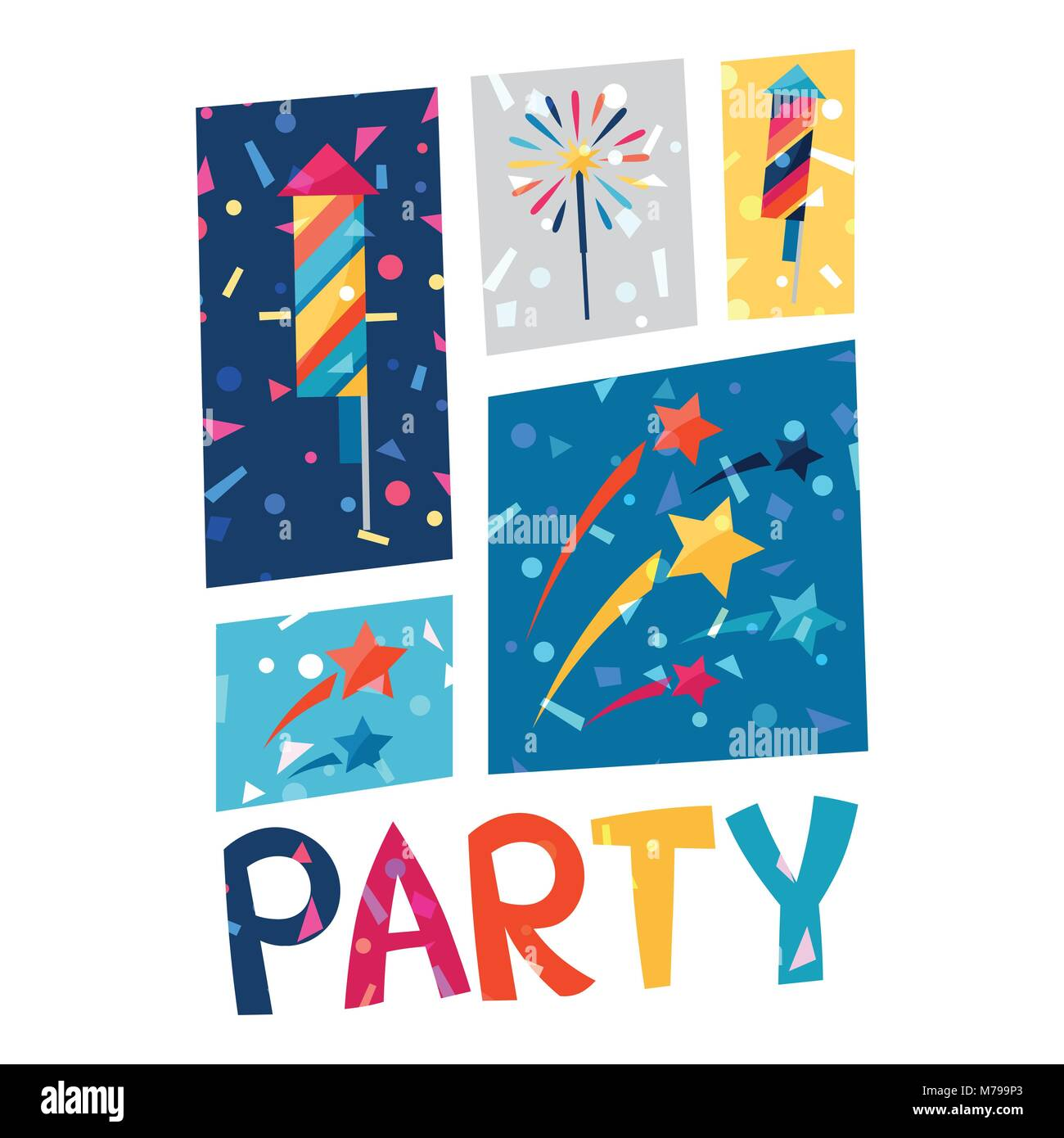 Celebration party poster with shiny confetti. - Stock Vector