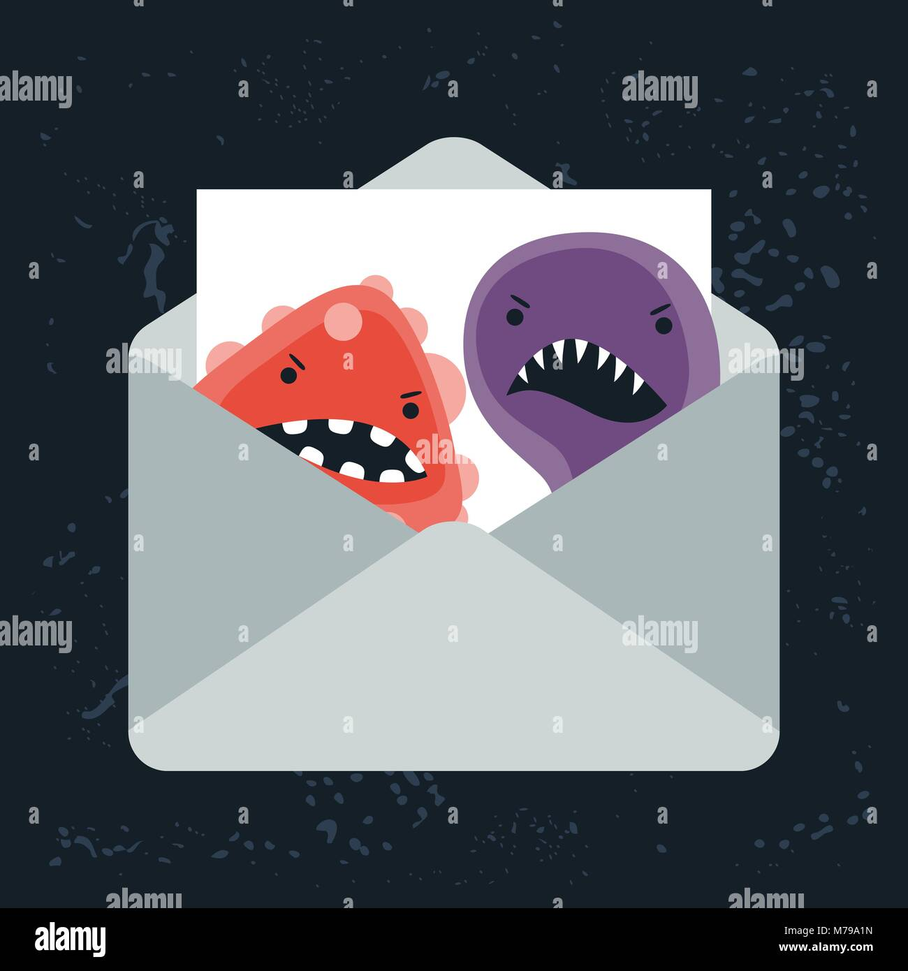 Abstract illustration email spam virus infection. - Stock Image
