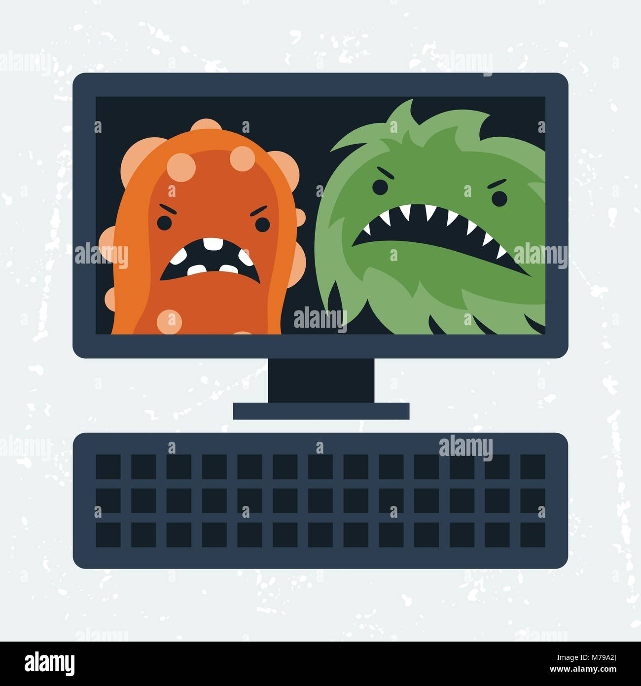 Abstract illustration computer infected with viruses. - Stock Image