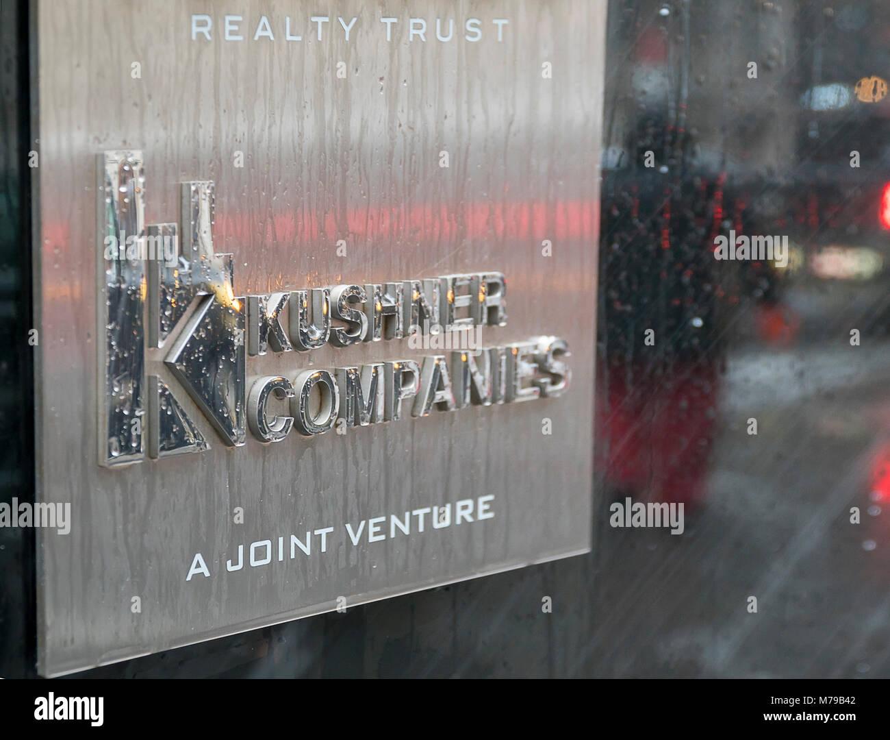 Kushner Companies sign on the exterior of 666 Fifth Avenue is seen in New York on Wednesday, March 7, 2018. The - Stock Image