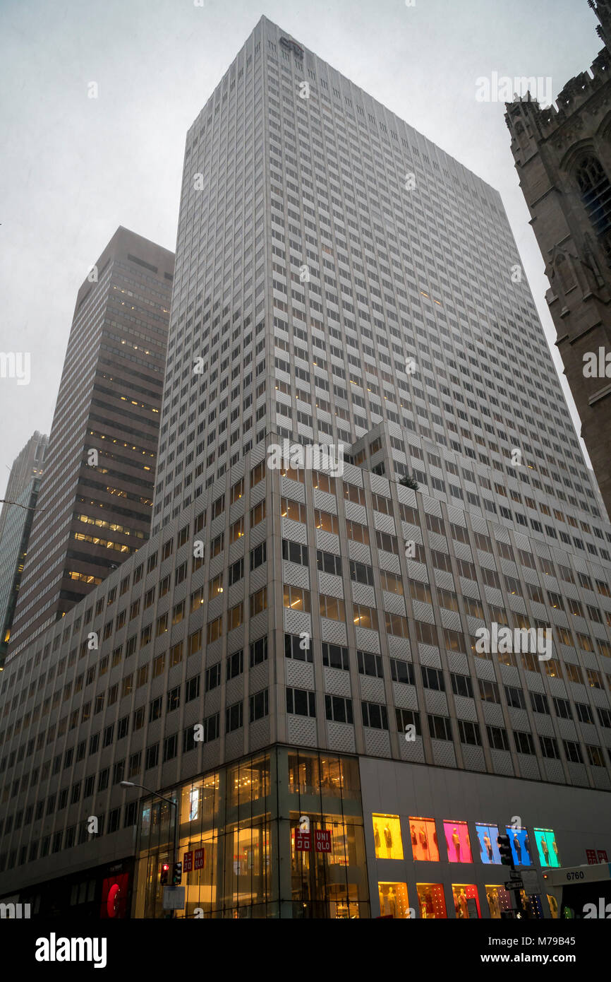 666 Fifth Avenue is seen in New York on Wednesday, March 7, 2018. The Kushner Cos. is reported to be interested - Stock Image