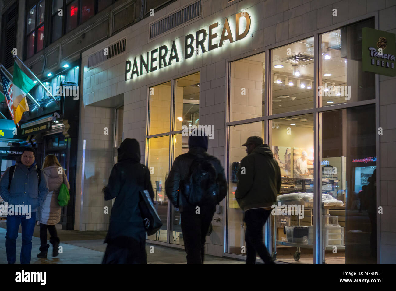 A Panera Bread store in the Chelsea neighborhood of New York, on Tuesday, March 6, 2018. Panera is a brand of JAB - Stock Image