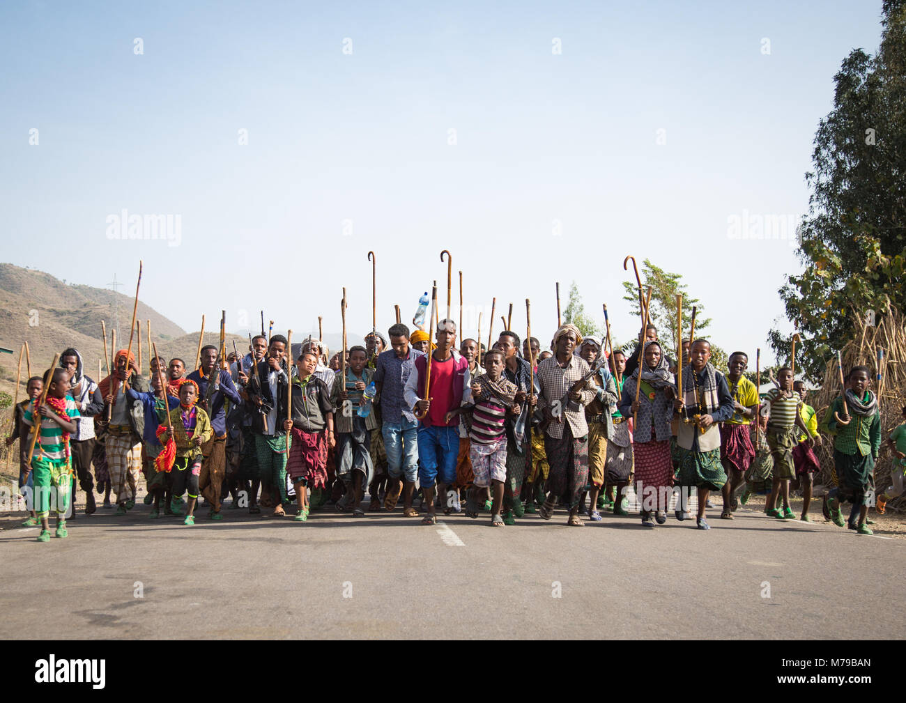 Oromo men and boys with sticks, Canes and weapons dancing and celebrating happily a wedding, Oromo region, Sambate, Stock Photo