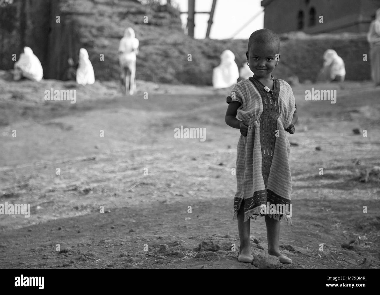 Little girl during kidane mehret orthodox celebration (st mary ceremony, The cover of mercy), Amhara region, Lalibela, - Stock Image