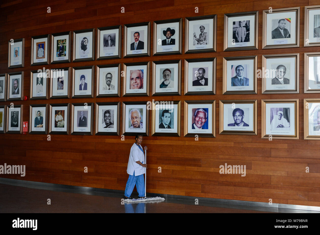 ETHIOPIA Addis Ababa, AU African Union building, wall with photos of african leader, presidents and PM ie Nelson Stock Photo