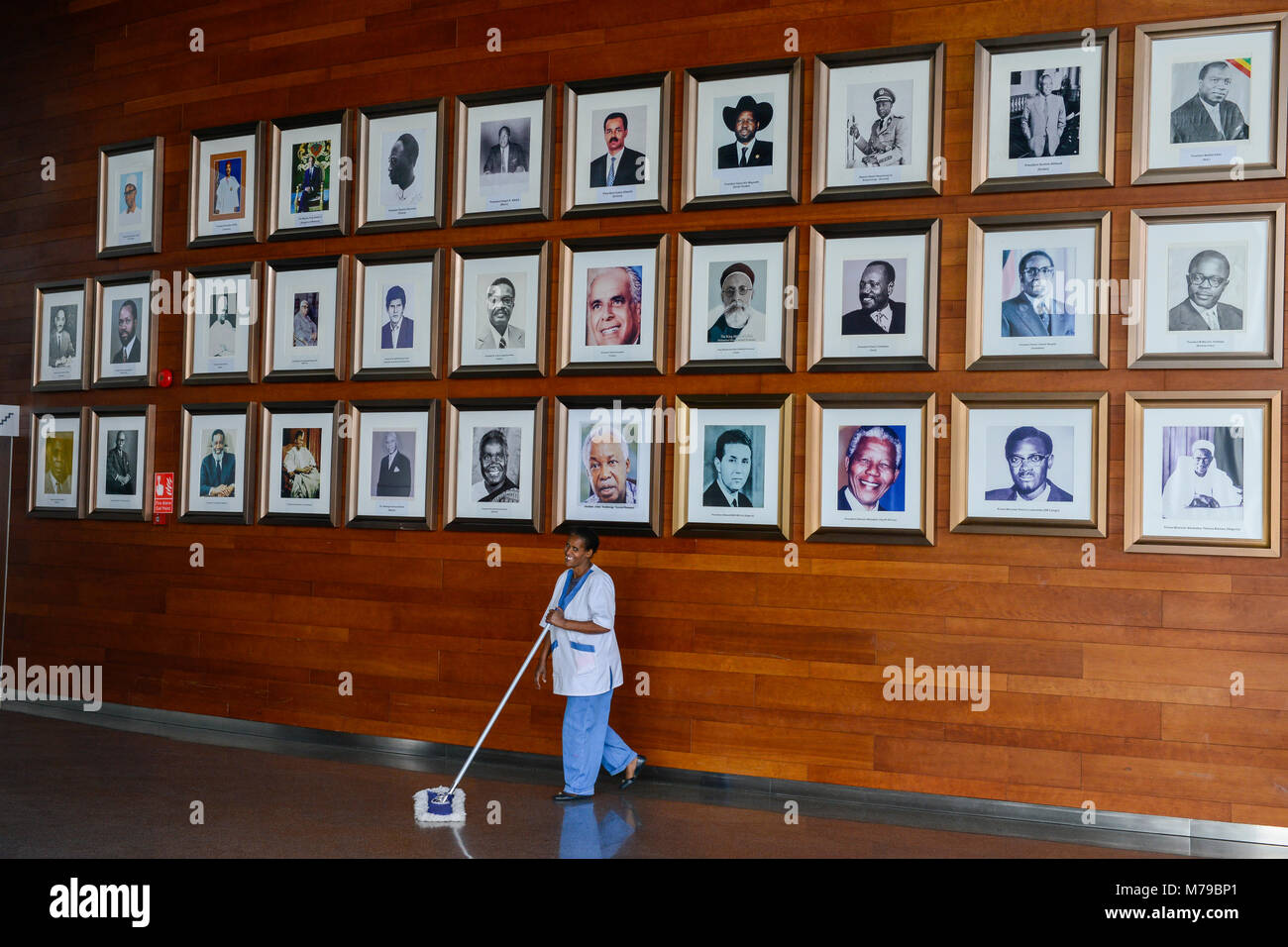 ETHIOPIA Addis Ababa, AU African Union building, wall with photos of african leader, presidents and PM ie Nelson - Stock Image