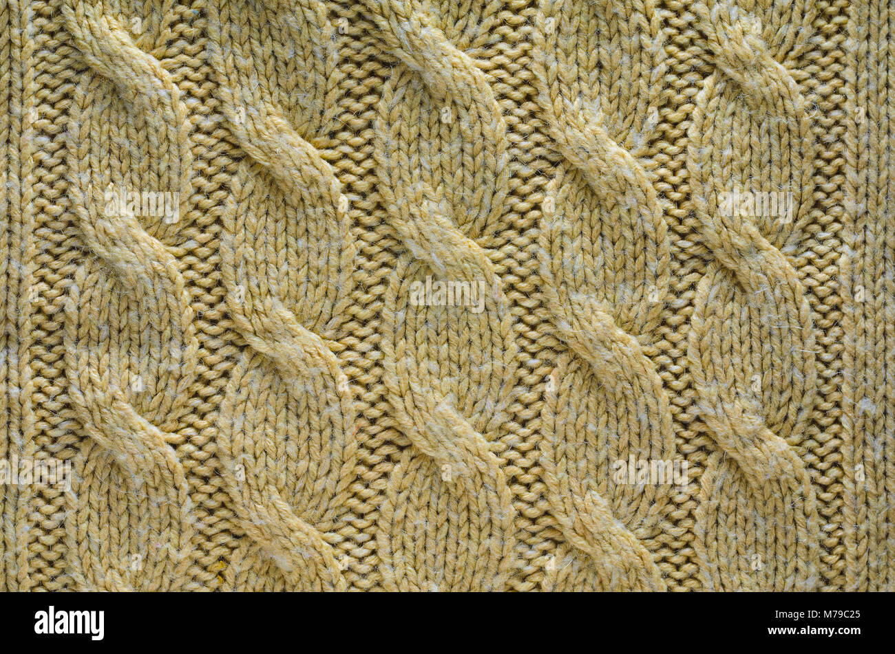 Knit Texture of Beige Wool Knitted Fabric with Cable Knits Pattern ...