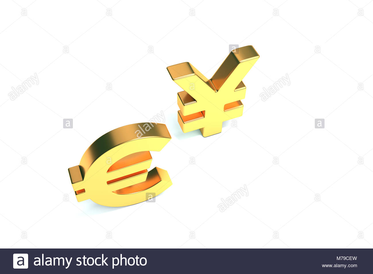 Euro And Yen Sign On White With Clipping Path - Stock Image