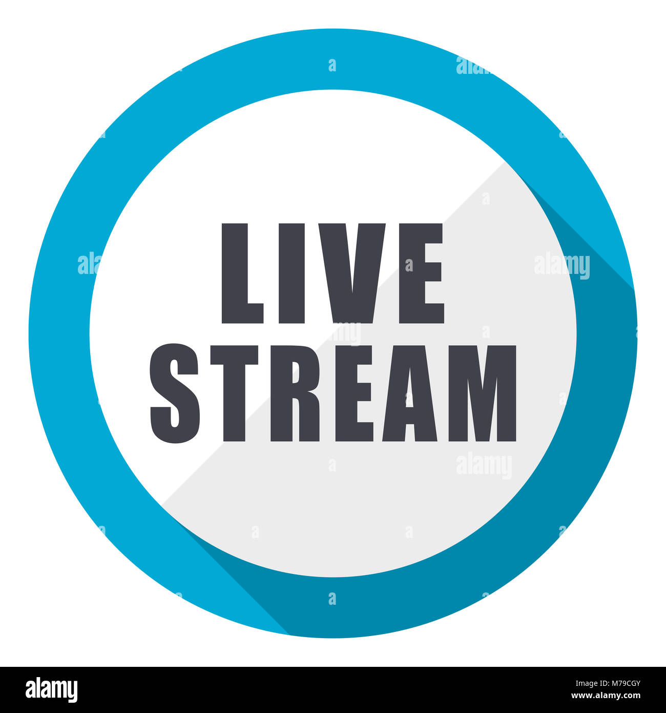 Live stream blue flat design web icon - Stock Image