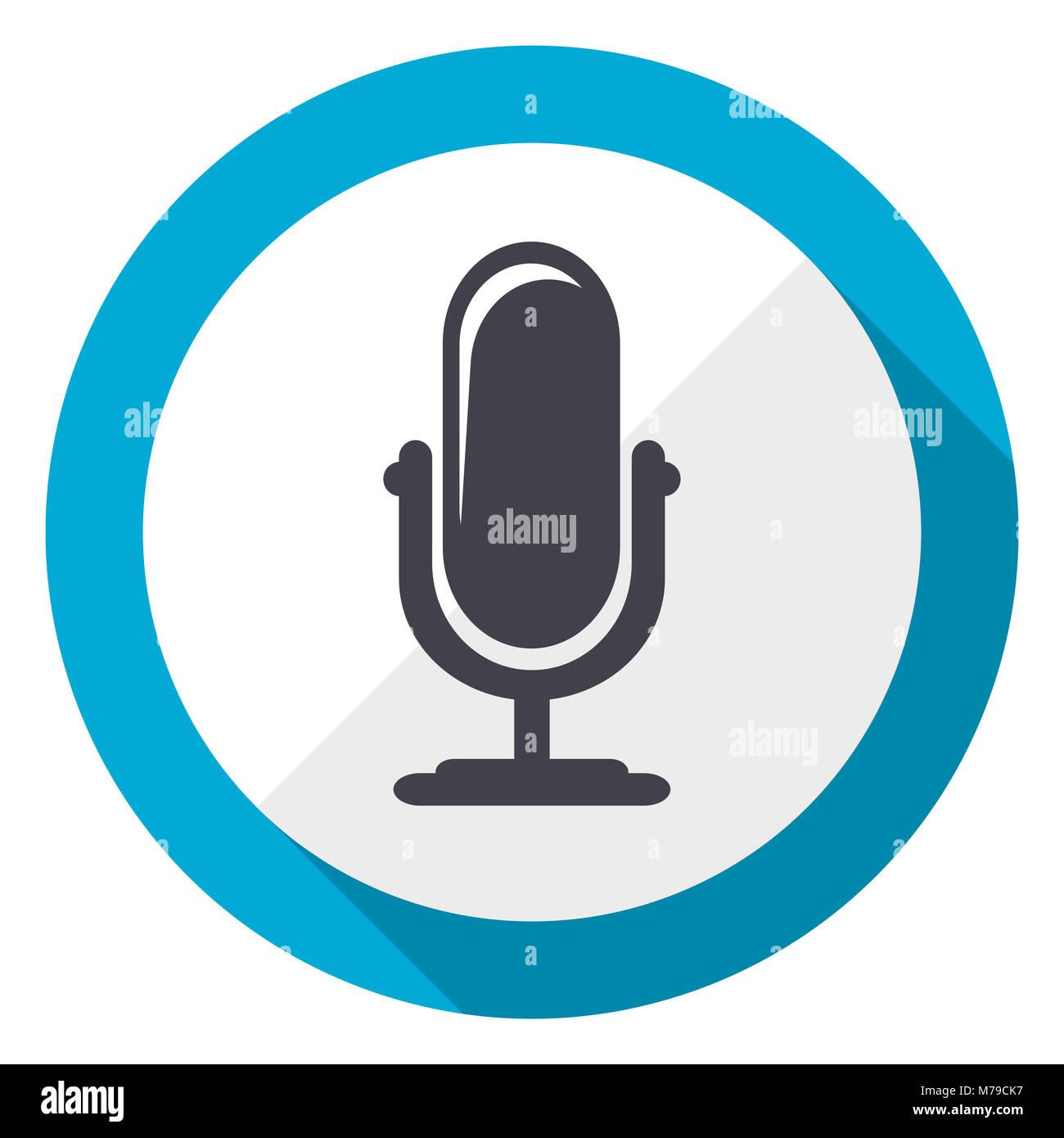 Microphone blue flat design web icon - Stock Image