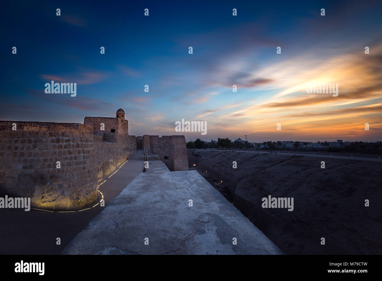 Sunset view from Bahrain Fort (Qalat Al Bahrain) taken on Dec 2017 - Stock Image