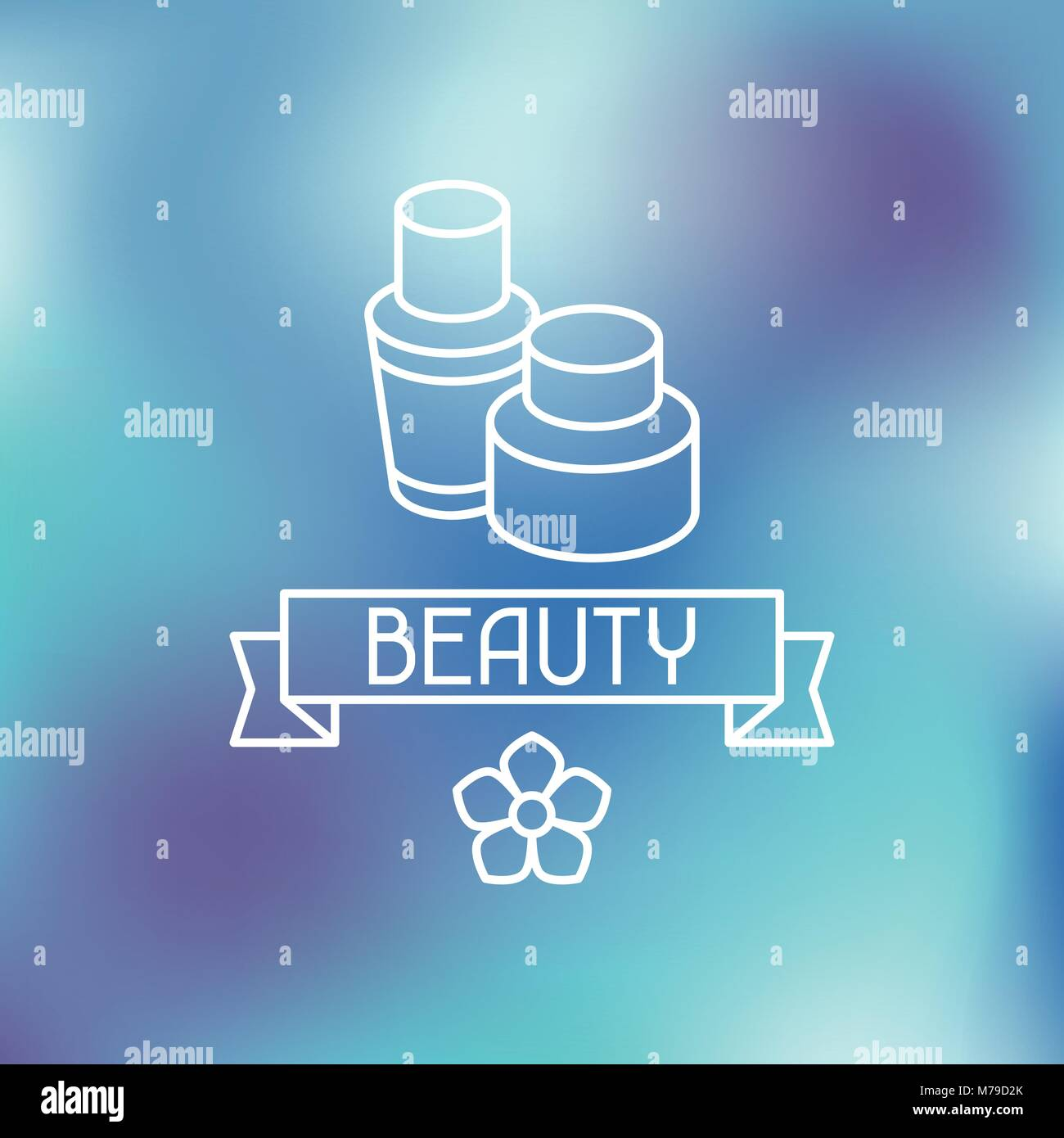 Spa beauty label on blurred background - Stock Vector